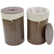 Cathay Importers Bamboo Folding Round Laundry Hamper, Espresso, 2/Pack