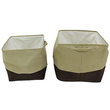 Cathay Importers - Panier de rangement en microsuede Milano, carré, beige et brun, paq./2
