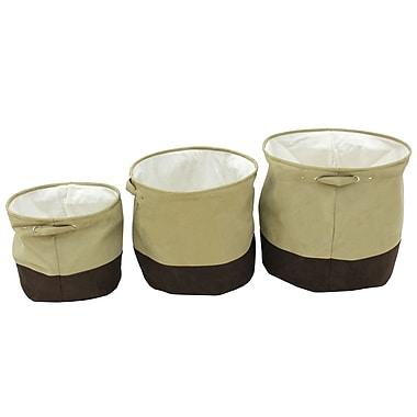 Cathay Importers - Panier de rangement en microsuede Milano, rond, beige et brun, paq./3