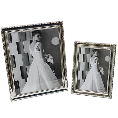 Cathay Importers Silver Plated with Beads Photo Frame, 2/Pack