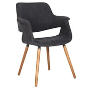 Cathay Importers Plush Linen Arm Chair, Charcoal Black