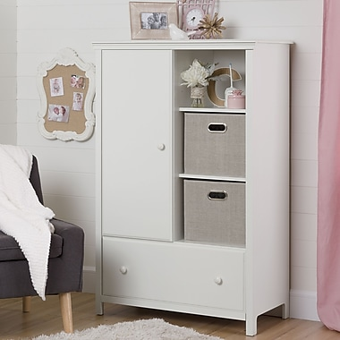 South Shore – Armoire de rangement avec tiroir, collection Cotton Candy, blanc pur