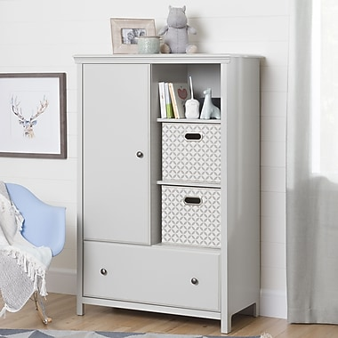 South Shore – Armoire de rangement avec tiroir, collection Cotton Candy, gris clair