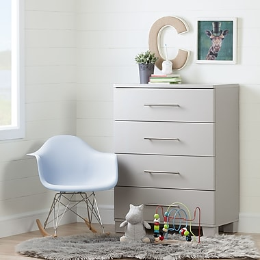 South Shore – Commode à 4 tiroirs, collection Cuddly, gris clair