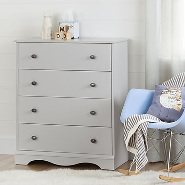 South Shore – Commode à 4 tiroirs, collection Angel, gris clair
