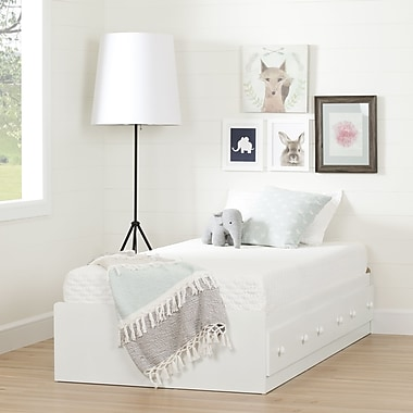 South Shore Summertime Pure White Twin Mates Bed and Mattress Set (39'')