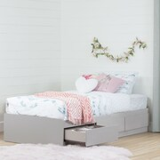 """South Shore Vito Twin Mates Bed (39"""") with 3 Drawers, Soft Grey"""