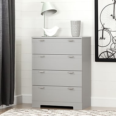 South Shore – Commode 4 tiroirs, collection Reevo, gris clair