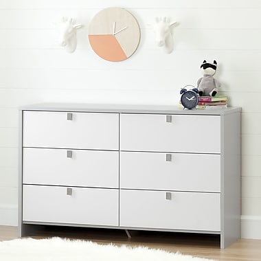 South Shore – Commode double à 6 tiroirs, collection Cookie, gris clair et blanc pur