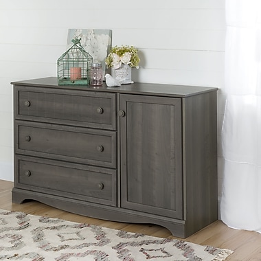 South Shore – Commode à 3 tiroirs avec porte, collection Savannah, érable gris