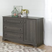 South Shore Savannah 3-Drawer Dresser with Door, Grey Maple