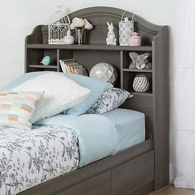 South Shore – Tête de lit bibliothèque pour lit double (39 po), collection Savannah, érable gris