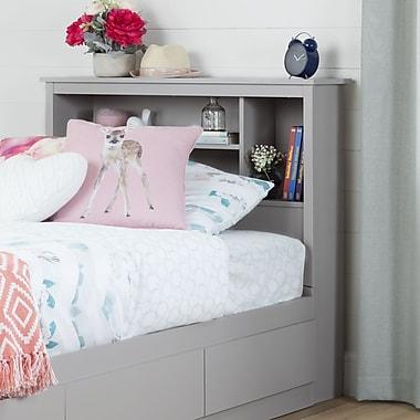 South Shore – Tête de lit bibliothèque pour lit double (39 po), collection Vito, gris clair
