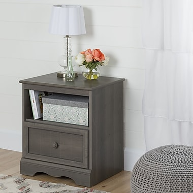 South Shore Savannah 1-Drawer Nightstand, Grey Maple