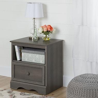 South Shore – Table de chevet à 1 tiroir, collection Savannah, érable gris
