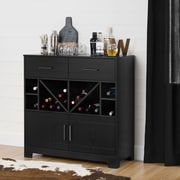 South Shore Vietti Bar Cabinet with Bottle Storage and Drawers, Black Oak