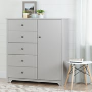 South Shore – Commode à porte avec 5 tiroirs, collection Vito, gris clair
