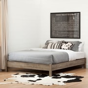 South Shore Munich Queen Platform Bed (60'') on Legs, Weathered Oak
