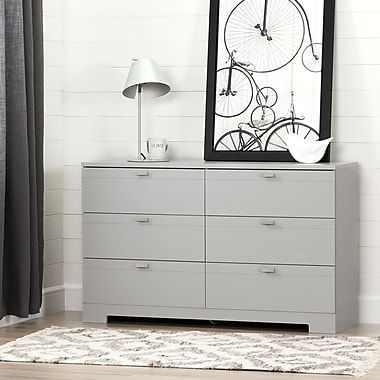 South Shore – Commode double à 6 tiroirs, collection Reevo, gris clair
