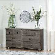 South Shore – Commode double à 6 tiroirs, collection Noble, érable gris