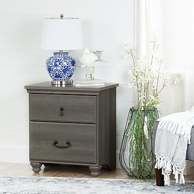 South Shore – Table de chevet à 2 tiroirs, collection Noble, érable gris