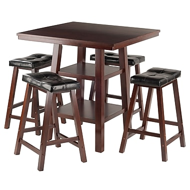 Winsome Orlando 5-Piece Set High Table with 4 Cushion Saddle Seat Stools, (94506)