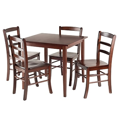 Winsome Groveland 5pc Square Dining Table With 4 chairs, Antique Walnut