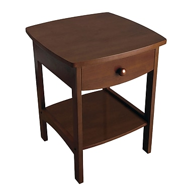 Winsome Curved End Table/Night Stand With One Drawer, Antique Walnut