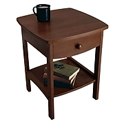 """Winsome 22"""" x 18"""" x 18"""" Wood Curved End Table/Night Stand With One Drawer, Brown"""