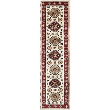 ECARPETGALLERY Royal Kazak Hand-Woven Cream Area Rug