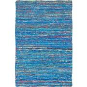 ECARPETGALLERY Sari Hand-Woven Navy Blue Area Rug