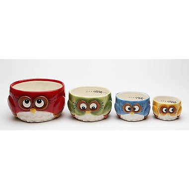 CosmosGifts Owl 4 Piece Earthenware Measuring Cup Set