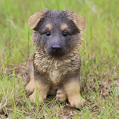Hi-Line Gift Ltd. Sitting German Shepherd Puppy Statue