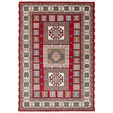 ECARPETGALLERY Royal Kazak Hand-Knotted Cream/Red Area Rug