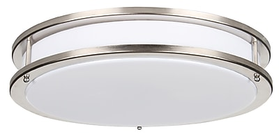 Luminance LED Two Ring Round Flush Mount, Bright Satin Nickel (F9915-80)