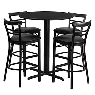 Flash Furniture 24'' Round Natural Laminate Table Set with X-Base and 4 Ladder Back Metal Bar Stools, Black Vinyl Seat
