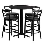 Flash Furniture 24'' Round Natural Laminate Table Set with X-Base and 4 Ladder Back Metal Bar Stools, Black Vinyl Seat