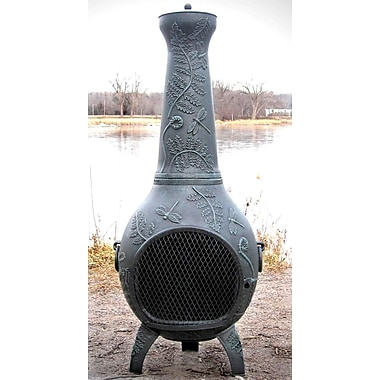 The Blue Rooster Aluminum Wood Burning Chiminea; Antique Green