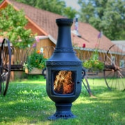 The Blue Rooster Venetian Style Aluminum Wood Burning Chiminea; Charcoal