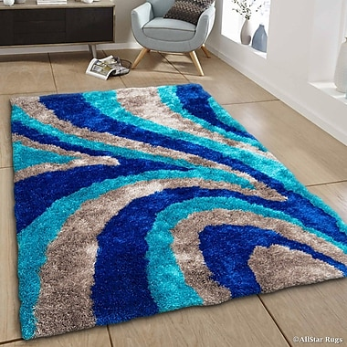 AllStar Rugs Hand-Tufted Blue/Brown Area Rug; 7'11'' x 10'5''