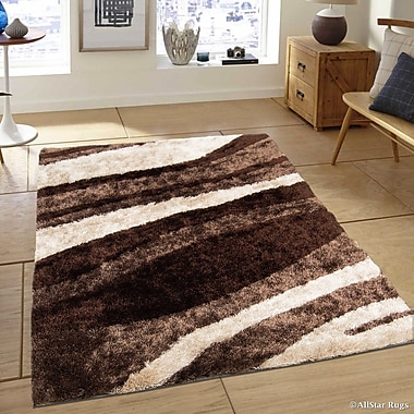 AllStar Rugs Hand-Tufted Chocolate/Brown Area Rug; 4'11'' x 6'11''