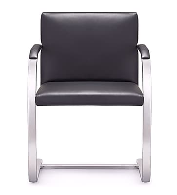 Woodstock Marketing Arlo Mid-Back Leather Chair w/ Arms; Black
