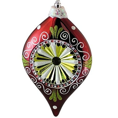 Queens of Christmas Decorated Reflector Hanging Finial Ornament; Red, Green and White