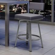 Amisco New York Style 26'' Swivel Bar Stool; Glossy Gray/Cold Gray
