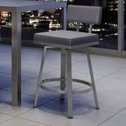 Amisco New York Style 26'' Swivel Bar Stool; Glossy Grey/Cold Grey