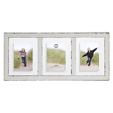 Prinz 3 Opening Bristol Distressed Wood Float Picture Frame; White