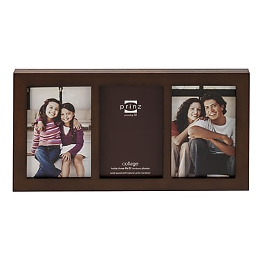 Prinz 3 Opening Carolina Solid Wood Picture Frame; Dark Walnut