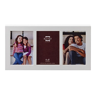 Prinz 3 Opening Carolina Solid Wood Picture Frame; White