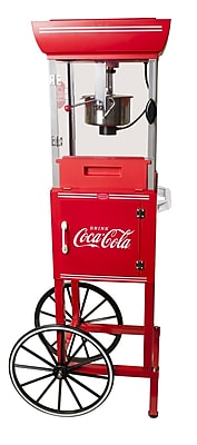 Nostalgia Electrics 2.5 Oz. Coca-Cola Series Old Fashioned Movie Time Popcorn Cart WYF078276192493