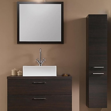 Iotti by Nameeks Aurora 30'' Single Bathroom Vanity Set w/ Mirror; Wenge